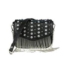 купить Retro Fashion Female Square bag Chain Tassel 2019 New Quality PU Leather Women bag Diamond Rivets Shoulder Messenger Bags по цене 1123.25 рублей