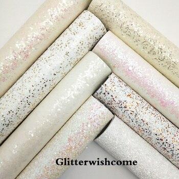 Glitterwishcome 21x 29cm tamaño A4, vinilo para lazos, cuero blanco brillante, cuero grueso de brillo plano, tela de vinilo para lazos, GM100A
