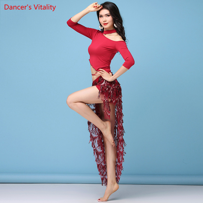 Belly Dancing Set Belly Dance Sequins Practice Clothes Suits Oriental Dance Beginners Practice Tassels Waistband Hip Scarf Set