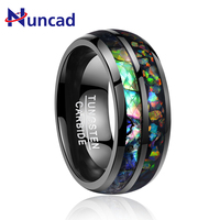 2018 newest Classical men's Retro electroplated black inlaid shells Opal dome tungsten wedding gift rings never fade