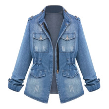 plus size new style denim woman coats autumn and spring long sleeve stand zipper slim pockets female