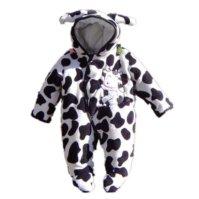 Tamanho 9 M & 12 M Vaca Bonito Fantasias de Animais Do Bebê de Inverno Romper Footsies Corpo Bebe Infantil Desgaste Do Bebê Recém-nascido Menino Geral Baby-Roupas