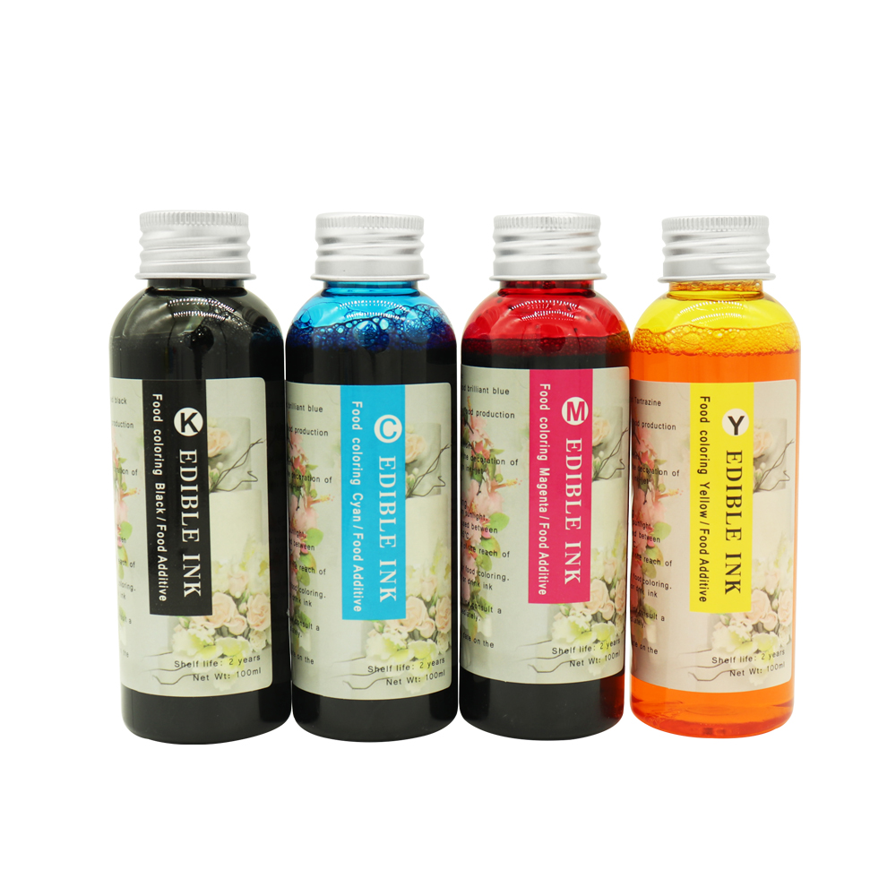 цена Edible Ink New 4 colors (CMYK) For Canon Epson Desktop Inkjet Printer For Cake Chocolate coffee & food printer