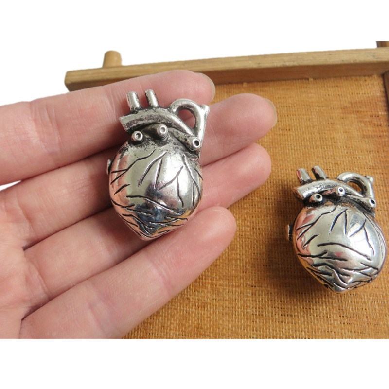 3pcs Antique Silver Anatomical Organ 3D Heart Charms Pendants Jewelry Findings