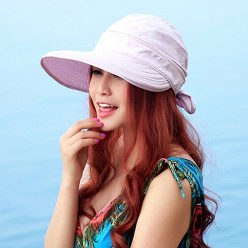 Solid Outdoor Korean Style Summer Bowknot Travel Beach Ladies Hiking Sun Hat Foldable Cap Practical Visors Fashion
