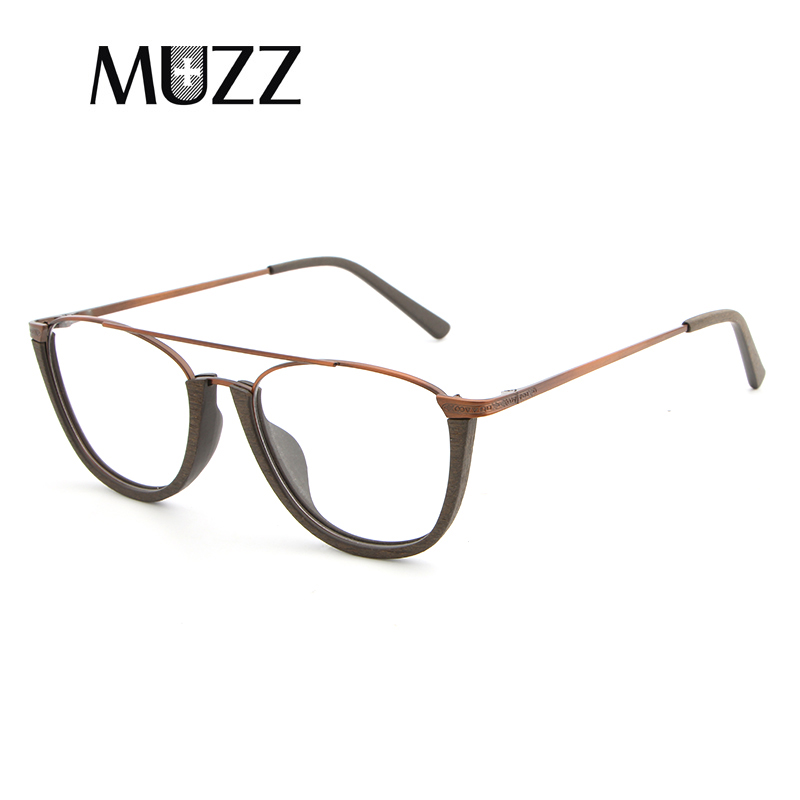 Image 2 - MUZZ Glasses Frame Wood Optical Glasses For Unisex Wooden Temple Frame Semi Rimless Eyeglasses Acetate Frames Men Spectacles-in Women's Eyewear Frames from Apparel Accessories