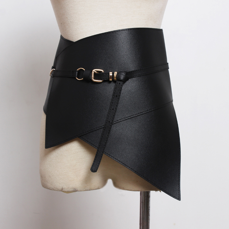New 2018 European Fashion Women Black Skirt Leather wide Belt Adjustable High Waist Female <font><b>Sexy</b></font> Casual Pleated Skirt <font><b>accessories</b></font> image