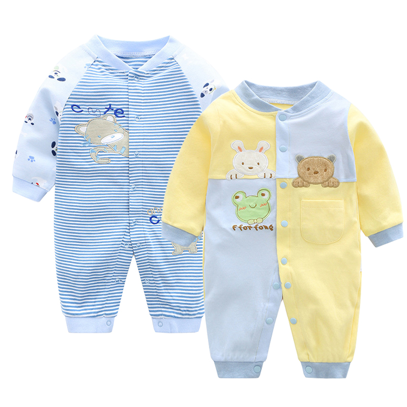 2018 New Arrival Newborn Jumpsuits Baby Boy Girl Romper Clothes Long Sleeve Infant Baby Clothes