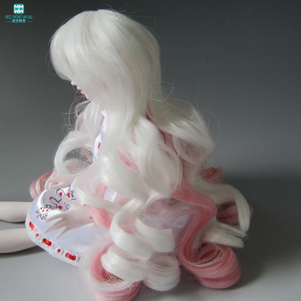 Готовые парик белый красный градиент большая волна завитки волосы для кукол 1/3 1/4 1/6 BJD/SD кукла аксессуары для куклы