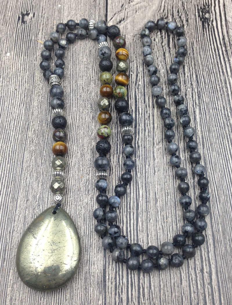 Green aventurine mala Labradorite mala Handmade knotted mala 108 mala beads Mala necklace Yoga beads Pyrite mala Mala.