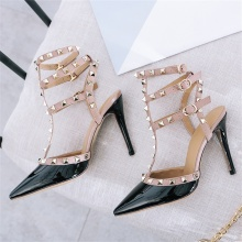 2019 summer fashion womens sandals leather fabric comfortable lining rivet decoration T-strap with thin high heel sexy