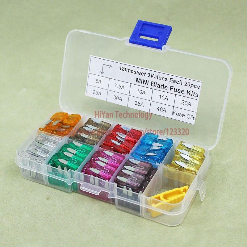 (180pcs/lot) ATM Mini Auto Car Blade Fuse Assortment Kit 9 Values Each 20pcs With Fuse C ...