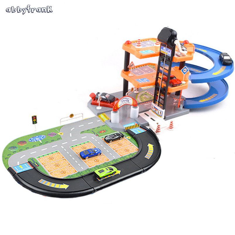 Abbyfrank Track Car Orbit 3D Model Toy Policeman Fire Truck Parking Lot Assemble Building Blocks DIY Learning Toy For Children