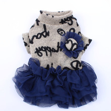Sweater Tutu Cat Dress Fluffy-Skirt Warm-Clothes Apparel Pet-Puppy Dog Letter Heart-Letter-Design