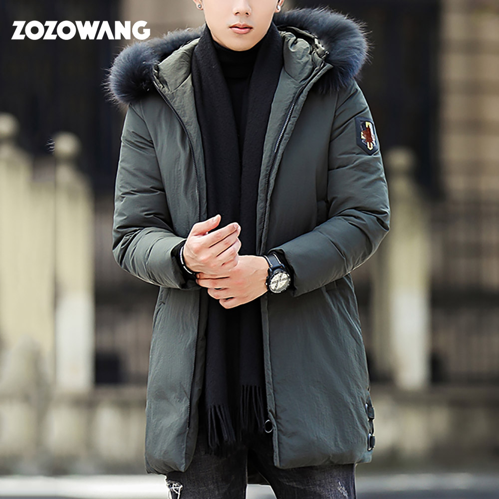 ZOZOWANG 2019 White Duck   Down   Men's   Down   Jackets hooded fur collar Warm Fashion Winter Clothing Casual   Coat   Male Parka Overcoat