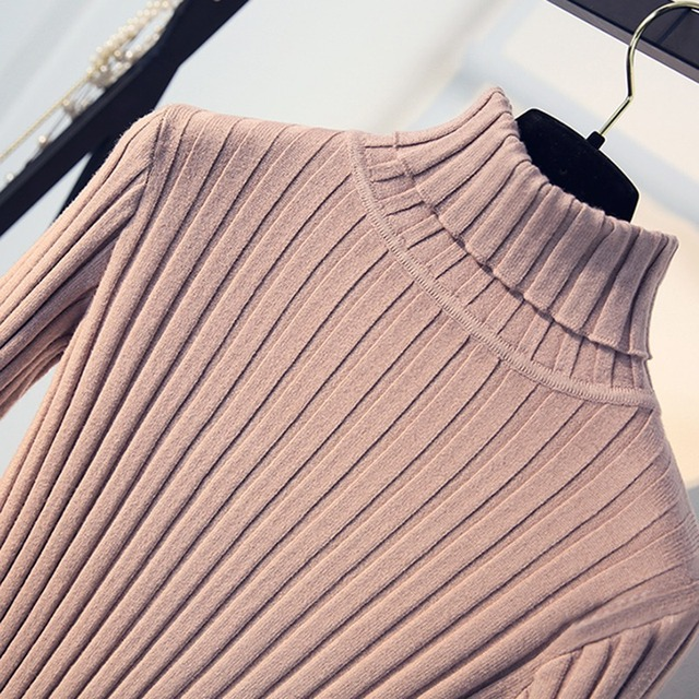 Apricot Soft Sweater For Women Turtleneck Thin Pattern Sweaters And Pullovers Tricot Pull Femme Tops Jersey Jumpers 3