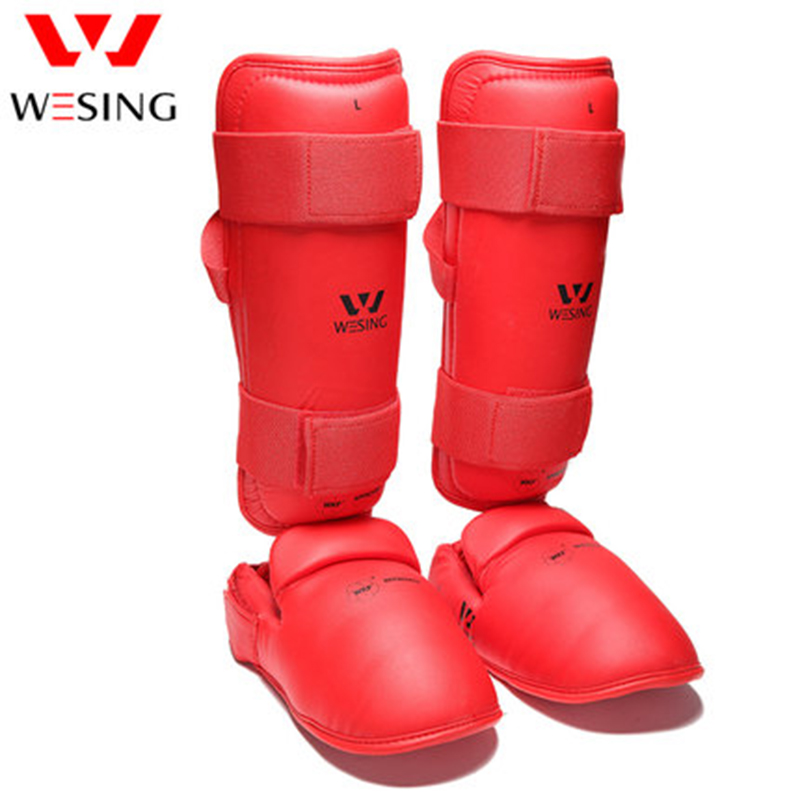Wesing WKF Approved Karate Shin Instep Guard Karate Training Competition Protect Knee Ankle Instep Karate Protection Equipment стоимость