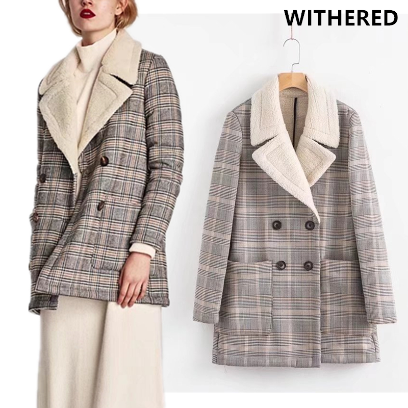 Withered blazer feminino england plaid notched double breasted blazer women thick warm Flocking women blazers and jackets