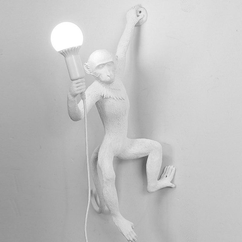 Moderne Creatieve Hars Witte Aap Lamp Loft Vintage Hennep Touw Hanger Licht voor Thuis Bar Cafe Retro Opknoping hanglamp - 3