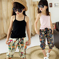 4-13Y 2017 Summer Teenage Child Kids Baby Set Clothes Girls Clothing Sets Camisole Tanks Top+Print Calf-length Pant 2pcs JW1508