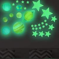 Stars Planets Luminous Wall Stickers Solar System Fluorescent Wall Stick Glowing Ceiling Decals Decoration For Children Room