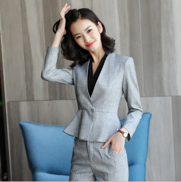 2 Pieces Set Outfit Female Business Work Blazer Suit With Skirt Pants Black White Gray Office Lady Formal Trouser Skirt Suit 4XL
