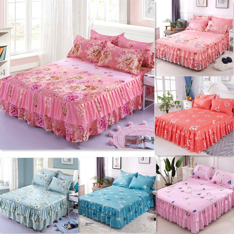 Skirt Pillowcase Bedding-Set Bedspread Fitted-Sheet-Cover Floral-Bed Home-Textile Double-Lace
