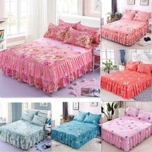 цены на 3pcs Floral Bed Skirt Fitted Sheet Cover Graceful Bedspread Double Lace Bedding Set Home Textile Non-slip Cover + Pillowcase  в интернет-магазинах