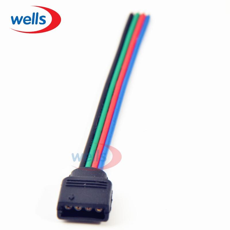 100 pcs 4pin feminino com 10 cm de comprimento de cabo conector para 5050 3528 led rgb strp