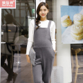 Maternity bib pants one piece belly pants plus velvet thickening spaghetti strap pants knitted slim straight casual pants