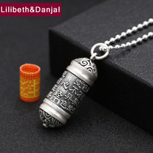 Men Necklace 100% Real 925 sterling silver Mantra Ga black box Pendant Chain Necklace Gift Women fine jewelry 2017 N3(China)