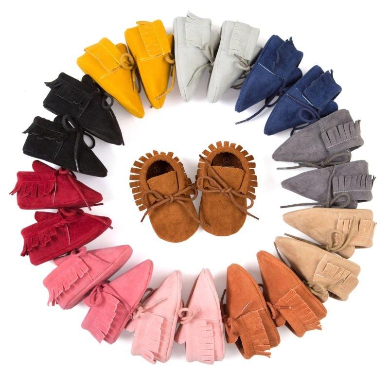 Hot 0-18M New Baby Shoes Soft Bottom Scandal Girls Boys Moccasins Tassel Lace-Up Nubuck Leather Infant Bebe New