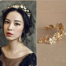 Jonnafe New Design Gold Leaf Tiara Bridal Headband Handmade Pearl Hair Jewelry Wedding Accessories Vintage Women Headpiece