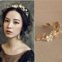 New Design Wedding Gold Leaf Tiara Bridal Pearl Headband Handmade Hair Jewelry Accessories Women Flower Headpiece