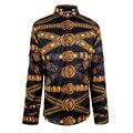 Fashion Design Printed Men Slim Fit Shirt Chemise Homme Long Sleeve Shirt Casual Camisas Hombre Luxury Brand Mens Dress Shirts