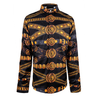Fashion Design Printed Men Slim Fit Shirt Chemise Homme Long Sleeve T Shirt Casual Camisas Hombre