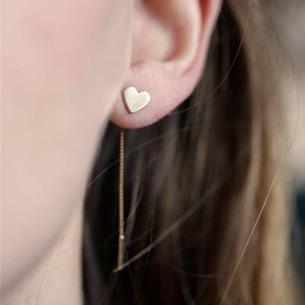 1 Pair Love Heart Long Earrings Tassel Chain Earrings Metal Gold-color Heart Dangle Earrings For Women Jewelry #228821