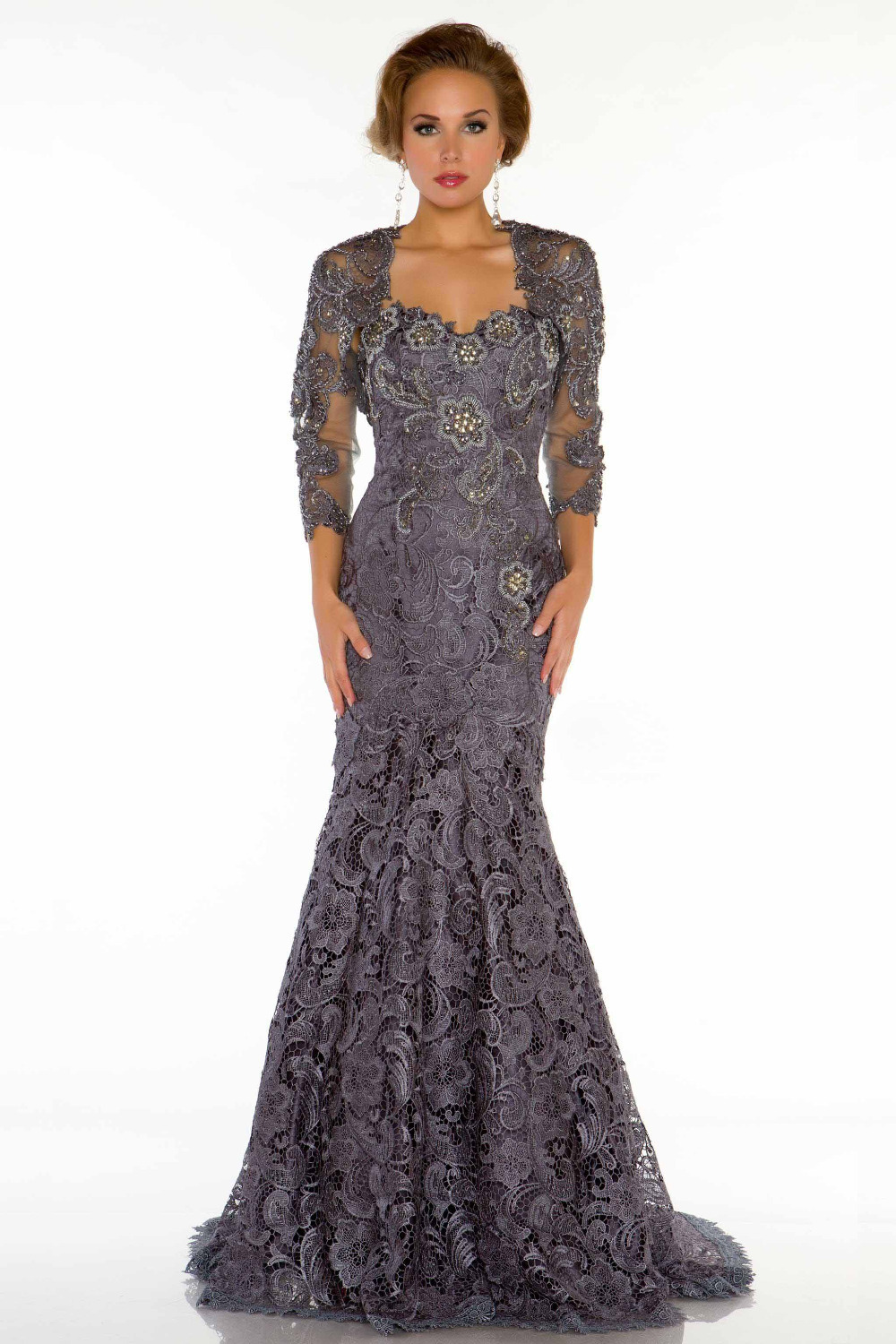 2015 Sexy Nude Sweetheart Lace Mermaid Evening Dresses