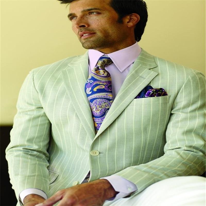 Zelený pruh Slim Fit Muži Ženich obleky Dva knoflíky Vrub Klopě Svatební Tuxedos pro muže Street StylesBoy Blazer bunda + kalhoty