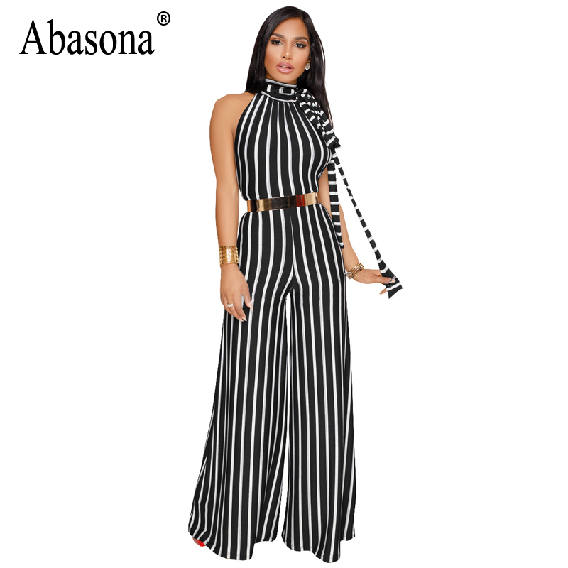 Abasona 2018 Striped Rompers Womens Jumpsuit Stand Collar Sleeveless Wide Leg Jumpsuit S ...