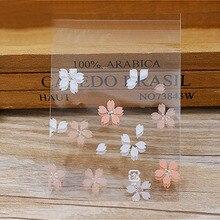 100 шт милые Мультяшные цветы печенья сумки самоклеющиеся партии Свадебные сумки торт конфеты подарочные пакеты выпечки пакет 7*7 см