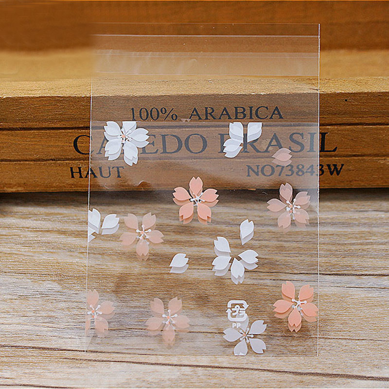 100Pcs Lovely Cartoon Flower Cookies Biscuits Bags Self-adhesive Party Wedding Bag Cake Candy Gift Bags Baking Package 7*7cm