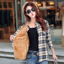 Winter Warm Women Velvet Thicker Jacket Plaid Shirt Style Coat Female College Style Jacket Outerwear