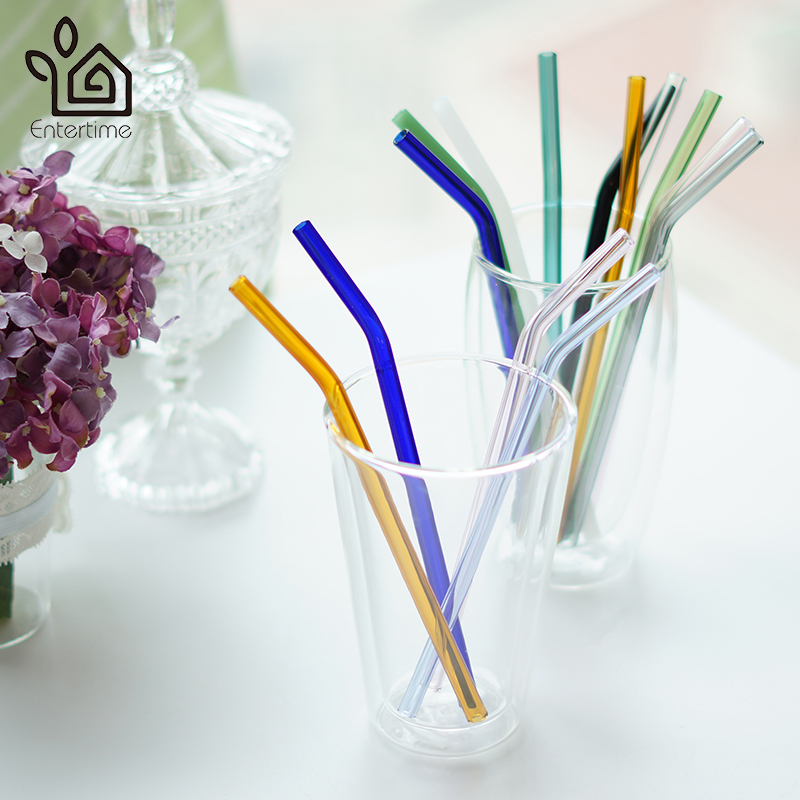 US $7 48 |Entertime Set of 6pcs reusable glass straws multi colored healthy  pyrex glass drinking Straw+3 pcs cleaner brush-in Drinking Straws from