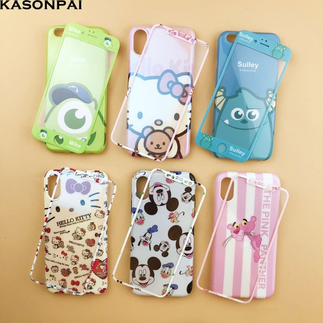 0928658eb 360 Full Cute Cartoon Hello Kitty Pink Panther Mickey Soft Phone Case  Tempered Glass Film For iphone 8 7 6 6s plus X XR XS MAX