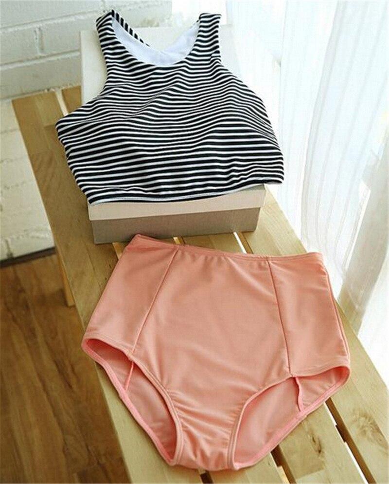 94519107321 2015 Women Bikini Set Sport Tank Striped Top + High Waisted Pink/Orange  Bottom Summer high waist swimwear Swimsuits S XL-in Bikinis Set from Sports  ...