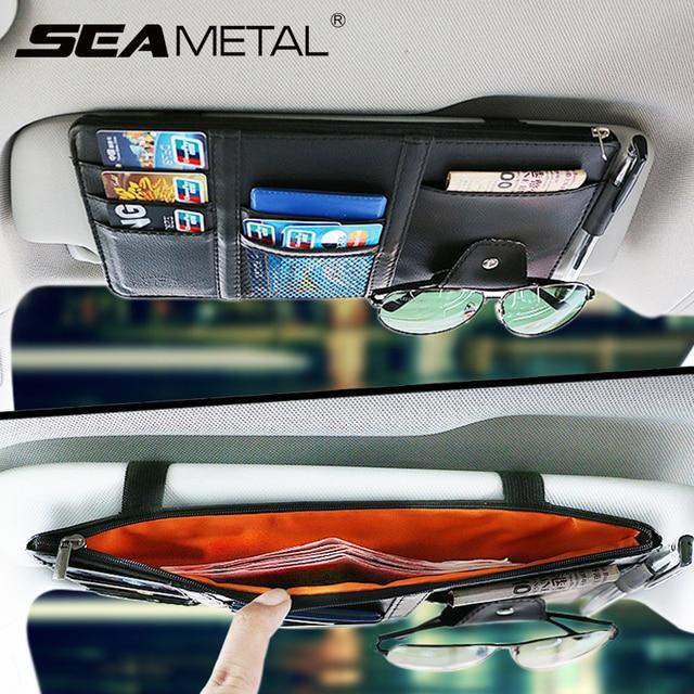 Interior Accessories Car Storage Sun Visor Organizer Auto Storage Bag Car Stowing Tidying Box Card Holder Pocket PU Leather