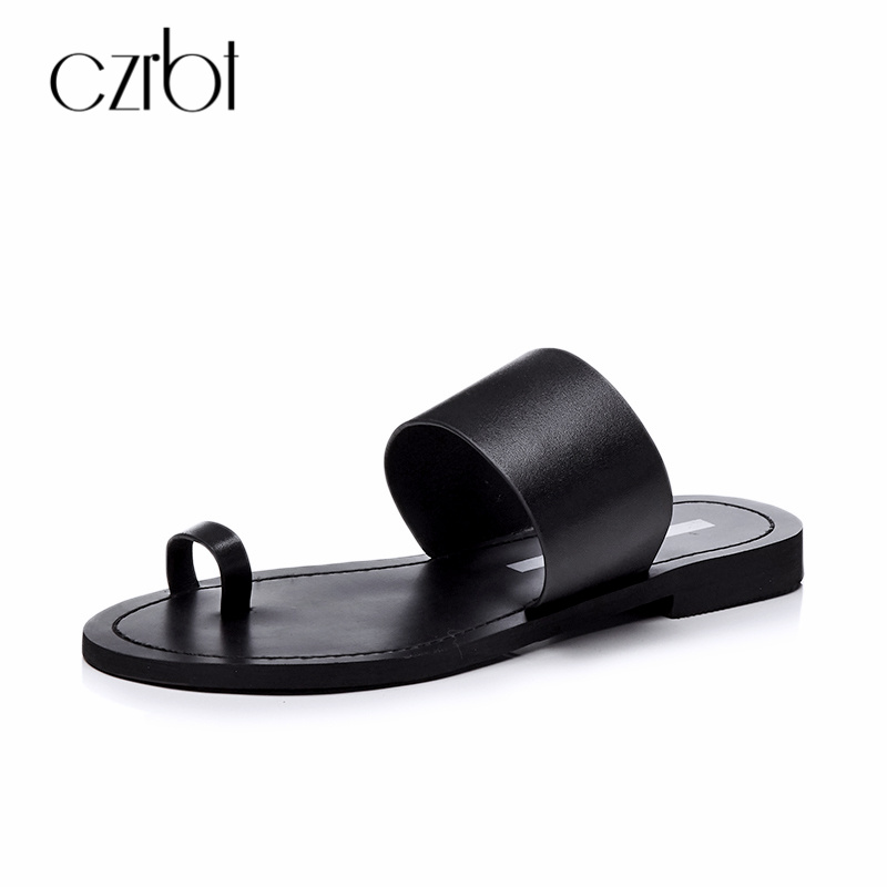 CZRBT Concise Style Slippers Women Summer Shoes 2018 Genuine Leather Skin Slip On Female Sandals Flats Shoes Casual Beach Style poadisfoo 2017 new summer style slip on women sandals flats for women black white color slippers shoes women hykl 1603