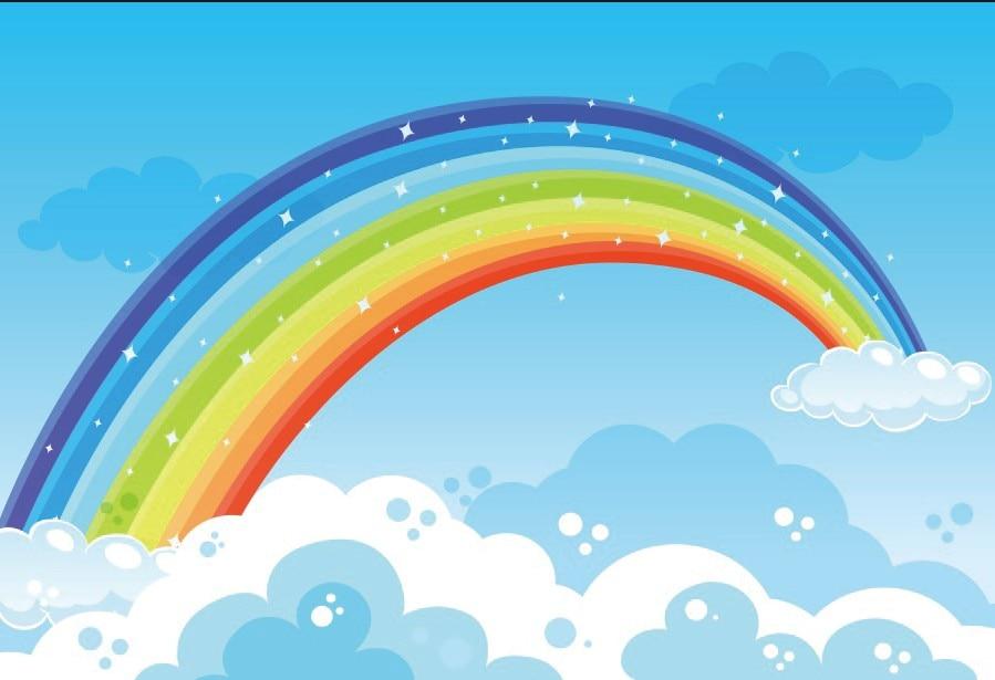 Laeacco Cartoon Rainbow Clouds Portrait Scene Baby Children Photography  Background Photographic Vinyl Backdrops For Photo Studio Background  -  AliExpress