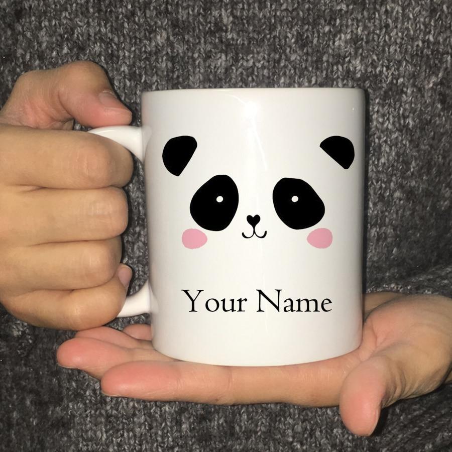 Personalised Custom Printed Mugs Cute Panda Tea Coffee Mug Cup Gift Name Text Drop Shipping